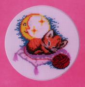 "Embroidered picture of a cross ""Sleeping kitten"""